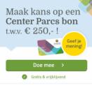 Gratis kans op bon Center Parcs t.w.v. €250