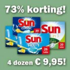 MEGA korting (73%) op Sun vaatwastabletten en Robijn!