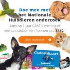 Win een jaar lang gratis dierenvoeding óf een Bol.com tegoed van € 450
