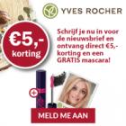 Gratis mascara en € 5 korting